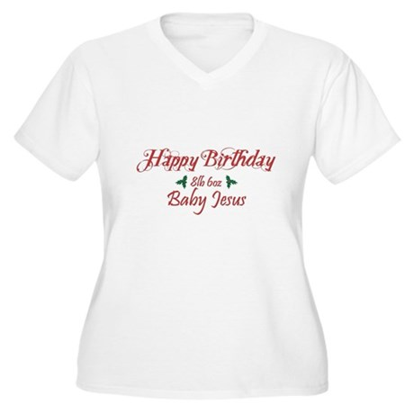 Happy Birthday Baby Jesus Womens Plus Size V-Neck