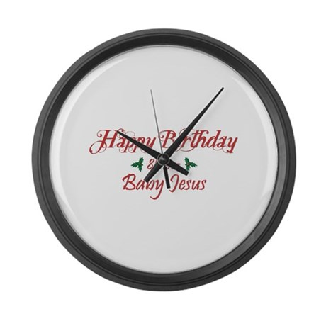 Happy Birthday Baby Jesus Large Wall Clock