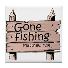 """Gone Fishing"" Tile Coaster"
