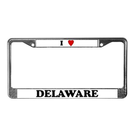 I Love Delaware License Plate Frame