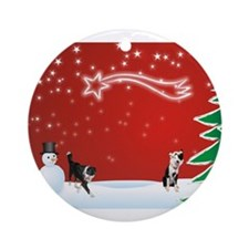 Cute Collie christmas Ornament (Round)