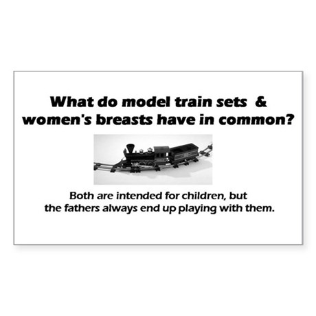 Model Trains & Breasts? Sticker (Rectangle)