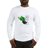 Snowmobile Cat in Color Green Long Sleeve T-Shirt