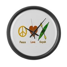 Peace,Luv,Kayak Large Wall Clock