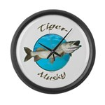 Tiger musky Large Wall Clock