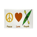 Peace,Luv,Kayak Rectangle Magnet (100 pack)