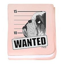 Black Bulldog Wanted baby blanket