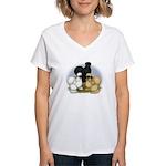 Silkie Chicken Trio Women's V-Neck T-Shirt