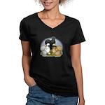 Silkie Chicken Trio Women's V-Neck Dark T-Shirt