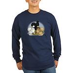 Silkie Chicken Trio Long Sleeve Dark T-Shirt