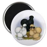 """Silkie Chicken Trio 2.25"""" Magnet (10 pack)"""