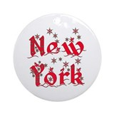 New york christmas Round Ornaments