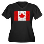 Canadian Flag Women's Plus Size V-Neck Dark T-Shir