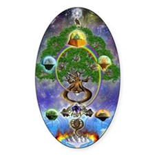 """Yggdrasil, The World Tree"" Oval Decal"