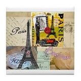 Paris &amp; Eiffel Tower Tile Coaster