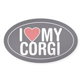 I Love (Heart) My Corgi Sticker/Decal (Oval)