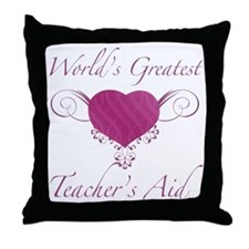 World's Greatest Teacher's Aid (Heart) Throw Pillo