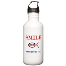 Smile Jesus Loves You Sports Water Bottle