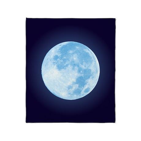 Blue Full Moon Throw Blanket