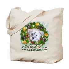 Merry Christmas Schnoodle Tote Bag