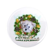"Merry Christmas Schnoodle 3.5"" Button (100 pack)"