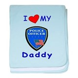 I Love Police Officer Daddy baby blanket