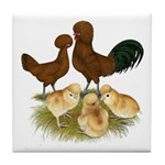 Red Polish Chickens Tile Coaster