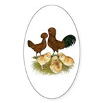 Red Polish Chickens Sticker (Oval 10 pk)