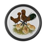 Red Polish Chickens Large Wall Clock