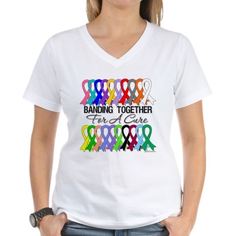 Banding Together For A Cure Women's V-Neck T-Shirt