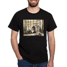 Wroxton Abbey Porch, Black/Cardinal T-Shirt