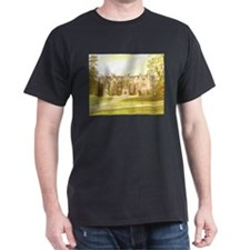 Wroxton Abbey in ivy. Black/Cardinal T-Shirt