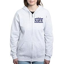 Proud Navy Grandma Zip Hoodie