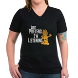 Just Pretend Women's V-Neck Black T-Shirt