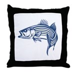 Graphic Striped Bass Throw Pillow