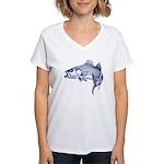 Graphic Striped Bass Women's V-Neck T-Shirt