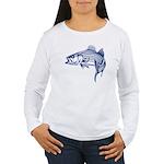 Graphic Striped Bass Women's Long Sleeve T-Shirt