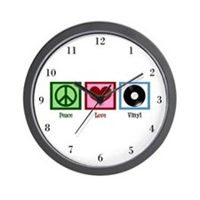 Peace Love Vinyl Wall Clock