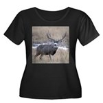 Muley Buck Women's Plus Size Scoop Neck Dark T-Shi