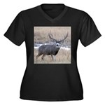 Muley Buck Women's Plus Size V-Neck Dark T-Shirt