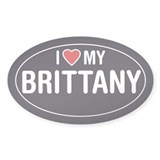 I Love (Heart) My Brittany Sticker/Decal (Oval)