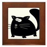Cute Black Cat Framed Tile