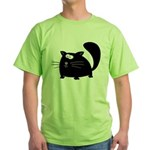 Cute Black Cat Green T-Shirt