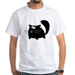 Cute Black Cat White T-Shirt