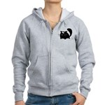 Cute Black Cat Women's Zip Hoodie