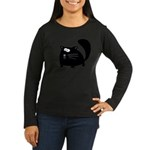Cute Black Cat Women's Long Sleeve Dark T-Shirt