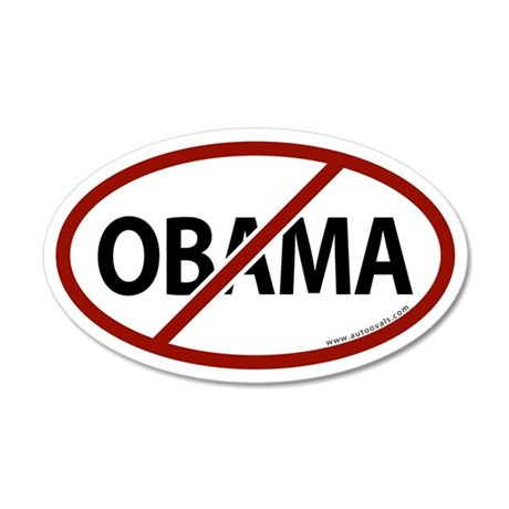 No Obama White Bumper 20x12 Oval Wall Peel