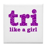 tri like a girl Tile Coaster