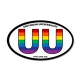 Rainbow UU Bumper 35x21 Oval Wall Peel with UUA we
