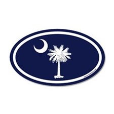 South Carolina Flag 35x21 Oval Wall Peel with Palm